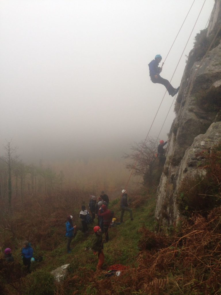 Clmbing and abseiling on a misty day at Scalp na gCapail in Collooney