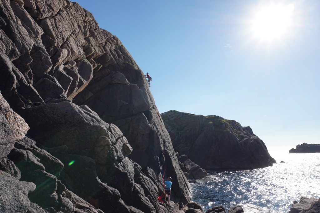 Stunning sea cliff climbing at Cruit Island, Donegal